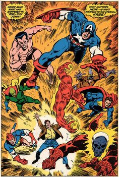 Avengers#97(1972)by John Buscema and Tom Palmer. Marvel's Golden-Age heroes appear. The original Human Torch(Jim Hammond), Sub-Mariner, Captain America, Blazing Skull, the Fin, the Vision(Arkas), Patriot, and the Angel. Part of the events in The Kree-Skrull War.
