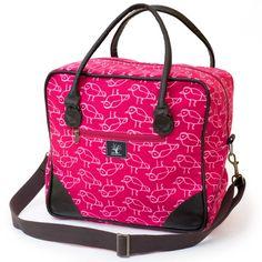 Birdie square overnight bag – Lou Hopper Bag Making, Fabric Design, Diaper Bag, Bags, Style, Handbags, Swag, Diaper Bags, Mothers Bag