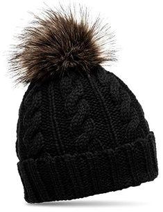 Bonnet trappeur fourré noir bordé de fourrure synthétique mailles torsades Mode