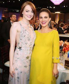 Emma Stone & Natalie Portman backstage at the 2017 Golden Globes