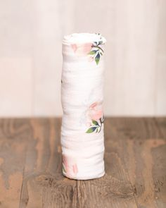 Organic Cotton Muslin Swaddle, Watercolor Rose