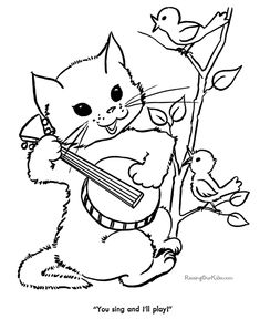 cat color pages printable cat and kitten coloring sheets