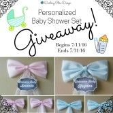 Personalized Baby Shower 3PC Decor Set Giveaway  Open to: United States Ending on: 07/31/2016 Enter for a chance to win a 3 piece personalized baby shower bow set from my Charming Baby Collection. You choose the color pink blue or a pink and blue mix set for twins. Enter this Giveaway at Darling Chic Design  Enter the Personalized Baby Shower 3PC Decor Set Giveaway on Giveaway Promote.