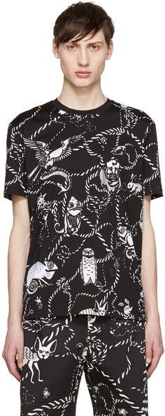 Markus Lupfer: Black Cartoon Animals Chris T-Shirt | SSENSE