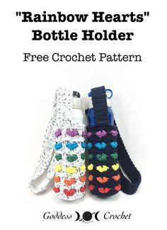 Rainbow Hearts Bottle Holder - Free Crochet Pattern