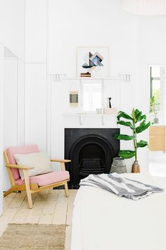This Hans Wegner Plank Chair is a gorgeous bedroom chair. It's lovely in pink but we currently have one available in a stunning green http://www.moderntimes.com.au/shop/seating/arm-chairs/duplicated-page.phps