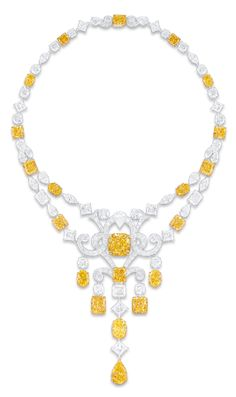 Graff Diamonds | Yellow and White Diamond Necklace | You can see the Rest of the Outfit and my Comments on this board. - Gabrielle
