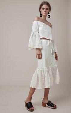 Drawstring Button Front Eyelet Skirt by ROSETTA GETTY for Preorder on Moda Operandi