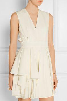 Alexander McQueen | Pleated grain de poudre wool mini dress | NET-A-PORTER.COM