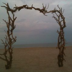 Driftwood arch for beach wedding in the Hampton's designed and built by my aunt, the talented Aurora Jones.