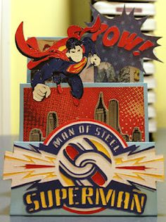 Superman Step card CTMH & Cricut Fancy Fold Cards, Folded Cards, Step Cards, Cricut Craft Room, Cricut Cards, Fathers Day Cards, Heart Cards, Card Maker, Kids Cards