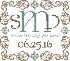 Wedding Monogram Cross Stitch Pattern  by oneofakindbabydesign