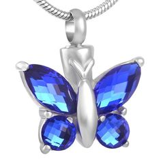 The Blue Butterfly Cremation Jewellery Ashes Memorial Mourning Urn with Jewellery Pouch and Fill Kit. Blue, Keepsake