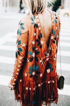 Boho Flame and Teal dress