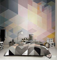 Geometric Wall Mural from myloview #wallpaper #wall #bedroom