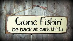 Hanging Sign /'GONE FISHING/' cute metal sign with chain for Fishermen !!