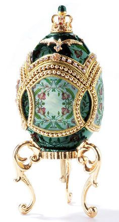 "Green Faberge Egg- These are so ornate, I need one at least... Scroll down when you search ""faberge egg"" to find the purple egg right on that page!"