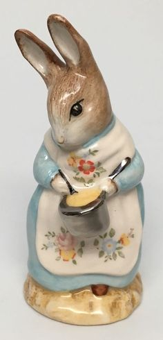"Silver Pot Beswick Royal Doulton Beatrix Potter's ""Mrs Rabbit Cooking"" Figurine 