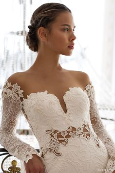 nurit hen 2016 long sleeves off shoulder sweetheart lace sheat wedding dress (pw31) mv elegant