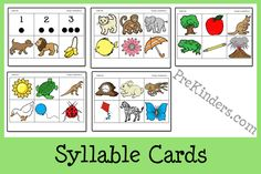 Syllable Cards for Literacy Activities - - Pinned by #PediaStaff.  Visit ht.ly/63sNt for all our pediatric therapy pins