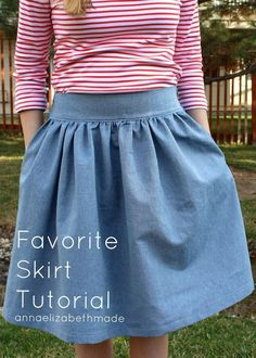 Anna Elizabeth Made: My Favorite Skirt {Tutorial} - just made one of these from the instructions- turned out great, thanks! : Anna Elizabeth Made: My Favorite Skirt {Tutorial} - just made one of these from the instructions- turned out great, thanks! Skirt Patterns Sewing, Sewing Patterns Free, Free Sewing, Clothing Patterns, Skirt Sewing, Sew A Skirt, Pattern Sewing, Coat Patterns, Gathered Skirt