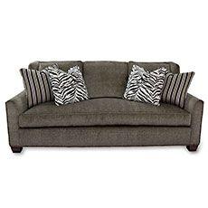 Velvet Tweed Sofa with Pillows
