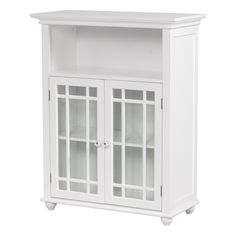 The attractive Hadley Double Door Floor Cabinet by Elegant Home Fashions offers modern styling and functionality with ample storage space to enhance any bathroom decor. This cabinet features 2 glass doors, 1 open shelf and 1 interior adjustable shelf. Bathroom Floor Cabinets, Kitchen Cabinetry, Bathroom Flooring, Bathroom Furniture, Bathroom Ideas, Furniture Storage, Bathroom Organization, Bathroom Inspiration, Furniture Ideas