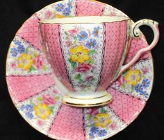 ROYAL GRAFTON ENGLAND  PINK FLORET Panel BEVERLEY TEA CUP AND SAUCER
