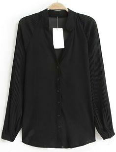 Black Stand Collar Long Sleeve Slim Blouse EUR€19.76