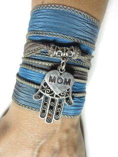 Mother's Day Hamsa Silk Wrap Bracelet Yoga Jewelry Blue Bohemian Jewelry Boho Chic Sil... $28.90