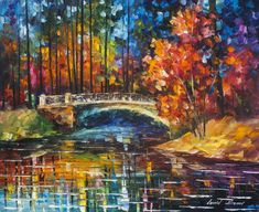 "Flowing Under The Bridge - PALETTE KNIFE Oil Painting On Canvas By Leonid Afremov - 24""X30"" (60cm x 75cm)"