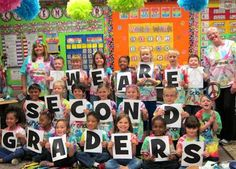 1st day of school class picture! Take the same one on the last day with different grade level signs!