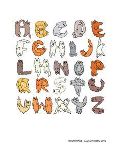 Meowhaus cat alphabet print by Allison Berg on Etsy