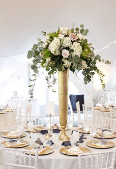 Tall gold vase, pink and white florals, statement centerpiece // Tara Liebeck Photography