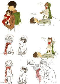 Baby eren x mikasa and baby levi x hanji Mikasa X Eren, Hanji And Levi, Attack On Titan Fanart, Attack On Titan Ships, Eremika, Rivamika, Anime Shows, Me Me Me Anime, Anime Couples