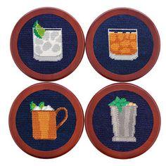 Gentlemen's Drinks Needlepoint Coasters in Dark Navy by Smathers & Branson