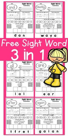Free Full Version Kindergarten Posters /Fine motor skills/ Hand Writing Practice/ Kindergarten Reading/Free Sight Word / Sight Word Dolch Pre-Primer/Primer /First Grade/ Coloring / Printables / No Pre Pre Primer Sight Words, First Grade Sight Words, Dolch Sight Words, Sight Word Practice, Sight Words Printables, Sight Word Worksheets, Sight Word Activities, Literacy Worksheets, Kindergarten Sight Words Printable