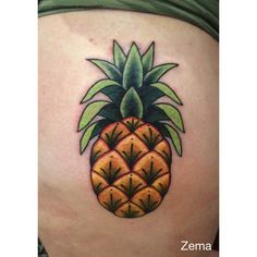 Small pineapple by Zema.  #tatouageroyal #quebectattooshops