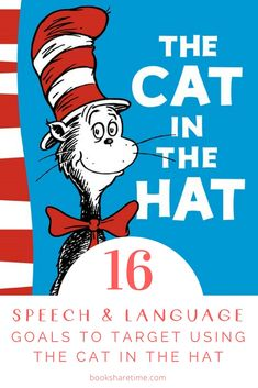 Take a look at the speech and language goals you can target in speech therapy using The Cat in the Hat by Dr Seuss Dr Seuss Activities, Speech Therapy Activities, Language Activities, Book Activities, Speech Therapy Games, Speech Language Pathology, Speech And Language, Dr Suess Books, Children's Books
