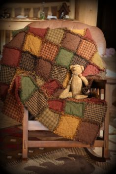 Rag quilt kit made with homespun fabric. Homespun fabric is fabric that is woven which is perfect for making rag quilts. Rustic Quilts, Primitive Quilts, Country Quilts, Log Cabin Quilts, Rustic Blankets, Flannel Rag Quilts, Cotton Quilts, Quilt Kits, Quilt Blocks