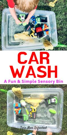 Sensory Tub Car Wash Activity for Toddlers and Preschools - Easy and Fun Sensory Bin Fun and easy sensory activity for your toddler. This will help your child work on fine motor skills while washing cars. Engaging activity for a nice day outside! Activities For 2 Year Olds, Toddler Learning Activities, Montessori Activities, Infant Activities, Motor Activities, Toddler Painting Activities, Water Play Activities, Sensory Activities For Preschoolers, Therapy Activities