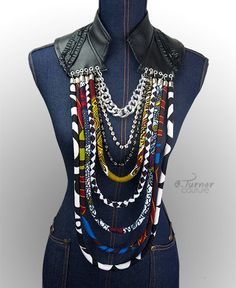 Vegan Leather Collar Multistrand Ankara Necklace by ETurnerCouture