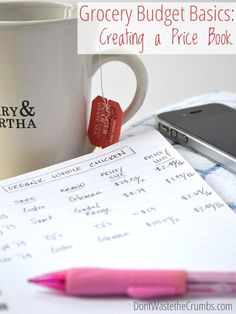 Grocery Budget Basics: Creating a Price Book This simple budget tip - creating a a price book - can be a tremendous help in seeing trends and the true cost of items. Here are step by step instructions for creating & using one of the best money saving tips Save Money On Groceries, Ways To Save Money, How To Make Money, Groceries Budget, Budgeting Finances, Budgeting Tips, Saving Ideas, Money Saving Tips, Money Tips
