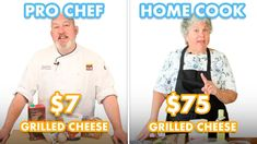 $75 vs $7 Grilled Cheese: Pro Chef & Home Cook Swap Ingredients | Epicurious - YouTube Mozzarella Curd, Shredded Brussel Sprouts, Pancake Stack, Cook Off, Professional Chef, Good Burger, Pep Talks, Menu Restaurant, Grilling