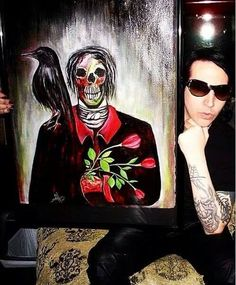 Marilyn Manson and his painting