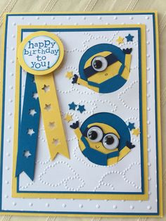 Stampin' UP Minion Birthday Card by MyPaperWorld on Etsy