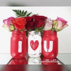 Valentine ready! Set these beautifully decorated and very well written mason jars this Valentines! #valentines #masonjars #iloveyou #decor #couplegoals #indore #creartination