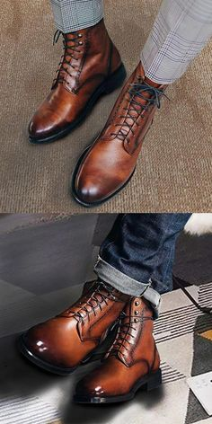 Trendy Leather Boots Men - Fashion mens leather boots, very comfortable to wear,perfectly match to your clothing style, you wo - Mens Shoes Boots, Mens Boots Fashion, Men Fashion, Ankle Shoes, Fashion Black, Trendy Fashion, Hipster Design, Vintage Hipster, Formal Shoes