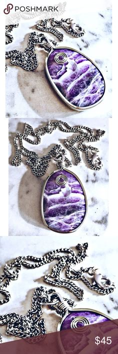 """Lilac Amethyst Necklace ✨Lilac Amethyst✨  Materials: Silver plated genuine Lilac Amethyst stone, silver plated chain, silver plated lobster claw clasp, chain length: 30"""".  About the Stone: Lilac Amethyst is the ideal stone for those who are perpetually tired & anxious. Its serenity enhances meditation. Amethyst has strong healing and cleansing powers, providing calmness & clarity, & enhances spiritual awareness.   Depending on the lighting, the coloring can look lighter or darker.  Handmade…"""