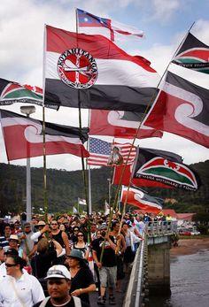 Māori flags at Waitangi Day, New Zeland Bay Of Islands, Cook Islands, National Symbols, National Flag, Treaty Of Waitangi, Waitangi Day, Maori People, West Papua, World Festival